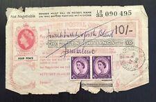 More details for british postal order 10 shillings/6d used jerusalem 2 x q. e stamps (very rare)