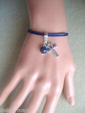 Dark Blue Lapis Bead and Egyptian Ankh Cross Charm Cord Bracelet in Gift Bag