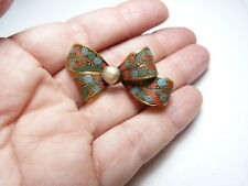 Vintage Gold Tone Metal Red Blue Green Textured Enamel Faux Pearl Bow Brooch