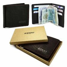 Zippo Personalised Genuine Leather Bi-Fold Wallet & Money Clip - Mocca Brown