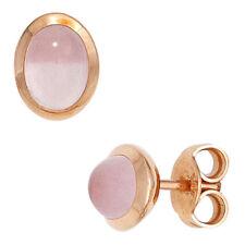 Ohrstecker oval 585 Gold Rotgold 2 Rosenquarz Cabochons rosa Ohrringe