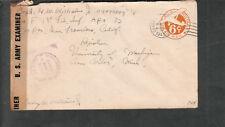 Aug 3 45 4 BPO Leyte WWII censor cover Sgt George W Williams 1st Fl Inf APO 72