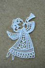 Christmas Angel & trumpet - sew-on lace motif/applique/patch/craft/card making