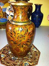 Beautiful Brown Gold Cloisonne Vase. Large
