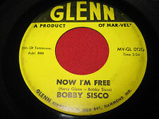 RARE COUNTRY BOPPER 45 BOBBY SISCO - NOW I'M FREE / BLUE LIGHTS - GLENN