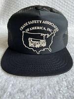 Vtg Baseball Cap Hat CRANE SAFETY ASSOCIATES of AMERICA Black Snapback Mesh Foam