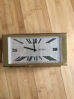 Vintage Brass Bulova Clock Mantle Desk Germany France MCM Retro Desk Office