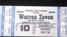 Warren Zevon 1980 concert ticket stub Full Unused ticket