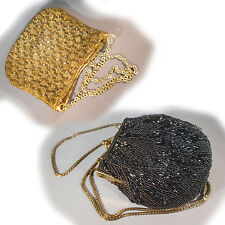 Vintage Small Art Deco Gold Beaded Evening Purse & 1 Black Purse