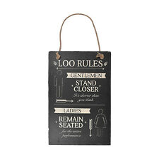 Loo Rules - Hanging Slate Plaque Sign
