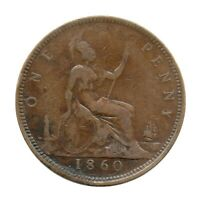 KM# 749 - One Penny - Freeman 15 (4+D) - Victoria - Great Britain 1860 (F)