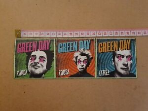 Green Day Stickers - ¡UNO! - ¡DOS! - ¡TRÈ! - three individual stickers on each
