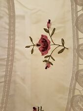 J C Penney 60 x 38 White Sheer Rose Embroidery Lace Shabby Chic Paris 2