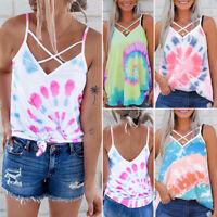 Womens Summer Casual Loose Vest Tops Ladies Tie Dye Sleeveless Backless Tank Top
