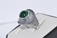 925 STERLING SILVER HANDMADE RING GREEN MALACHITE  SIZE  UK - P  / US - 8