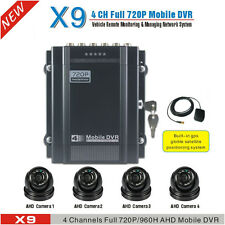 720P 4 Channel Car DVR Kit With H.264 Vehicle Video Record DVR AHD Camera + GPS