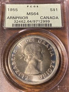 1955 CANADA SILVER DOLLAR...ARNPRIOR..PCGS MS64..OLD GREEN LABEL..