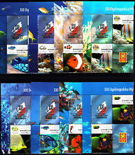 Poland 2014 Coral Fish Stamp Exhibition WARSZAWA Corner Blocks Set - Stamps MNH
