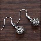 Vintage Tibetan Silver Hollow Ball Drop Dangle Hook Earrings Ear Stud Jewelry