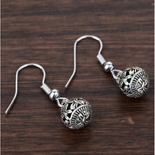 Vintage Tibetan Silver Hollow Ball Drop Dangle Hook Earrings Ear Stud Jewelry