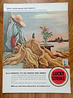 1942 Lucky Strike Cigarette Ad Tobacco Painted in Tobacco Country by Benton