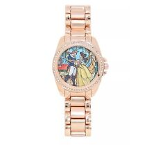 New Beauty and the Beast Belle Rhinestone Goldtone Disney Watch.