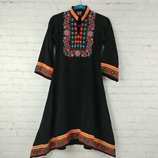 Paras Ladies Embroidery Asymmetrical Black Dress Made in Pakistan Size Small.