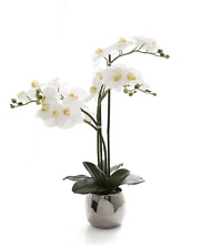 Fake Orchid White Phalaenopsis Silver Pot 67 cm