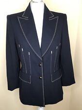 ESCADA navy blue blazer jacket virgin wool immaculate condition EU38 UK12