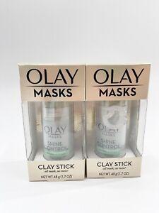 2X Olay Clay Masks Shine Control Tea Tree Extract Clay Stick 1.7oz Oil Absorbing