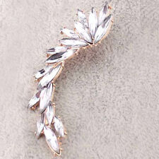 New Fashion Retro Right Ear Cuff Clip Crystal Wings Leaf Golden Stud Earring