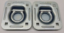"""2 - Recessed D Rings Tie Down Brackets 4"""" x 4"""" Quad Trailer Cargo 5,000 lbs"""