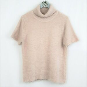 NY & Co Pink Fuzzy Pullover Sweater Womens XL Short Sleeve SOFT Turtleneck