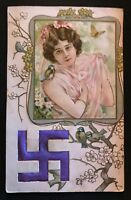 Greeting-Art Nouveau-Silk SWASTIKA~Good Luck Symbol~Pretty LADY~Antique Postcard