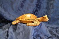 "Vintage Wooden Sea Turtle - Hand Carved - Golden Brown 9"" x 6"""