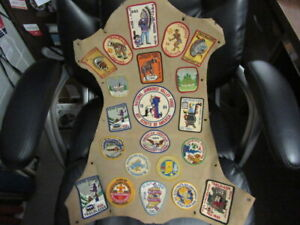 Central Indiana Council Leather Plaque with 1960's Camp & Activity Patches