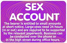 5 x Sex Account Naughty Cheeky Joke Plastic Identity Card Stag Hen Night Party