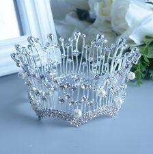 6cm hoch Kristall Perle Hochzeit Braut Haarschmuck Haarreif Krone Diademe Tiara