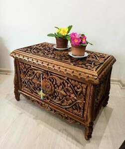 handmade vintage Ottoman style carved trunk coffee table , large hope chest,