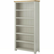 Padstow Grey Painted Large Oak Bookcase / Solid Wood Painted Tall Wide Bookcase