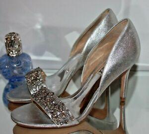 Badgley Mischka Ivy Silver metallic suede Heels  Women's size 7.5m