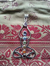517 Meditation /Chakra pendant 7 gems solid 925 sterling silver rrp$90