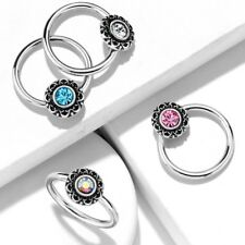 1.2mm Surgical Steel Ring + Filigree Crystal ~ Daith, Helix, Septum Piercing