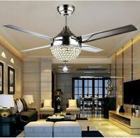 Crystal Modern 44inch Ceiling Fan Lamp LED 3 Changing Light 4Stainless BladesNew