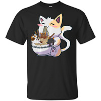Kawaii Neko Cat Ramen Bowl Anime Japanese Noodles Black T-Shirt M-3XL