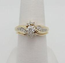 Zales 1/4CT Round Cut Diamond Engagement Wedding Ring Set 10K Yellow Gold