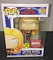 Funko POP EXCLUSIVE Collector Corps Captain Marvel #446 GLOW IN DARK BRIE LARSON