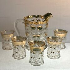 US Glass Company Blazing Cornucopia Water Pitcher & Tumbler Set Gold Flashed WOW