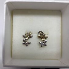 Number 39 Silver & Yellow Gold Tumbling Butterfly Stud Earrings