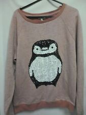 LADIES RIVER ISLAND FLEECE TOP SIZE 8 WITH SEQUIN PENGUIN - NEW WITH TAGS (TR)